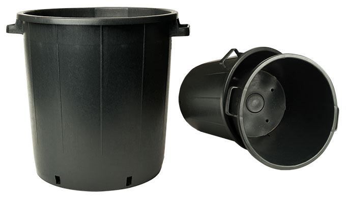 Ideal für Heidelbeeren im Pflanzkübel: Praktische Baumcontainer mit Griffen und zusätzlichen Wasserabzugslöchern an den Seiten.