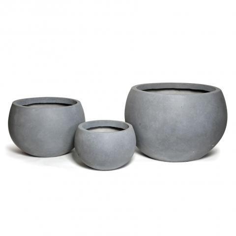 Kunstvoller kugelförmiger grauer Pflanzkübel für Außen ...