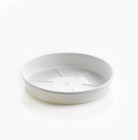 Pflanztopf Untersetzer weiß aus Kunststoff hergestellt und in einer ...